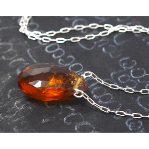 Fiery Citrine Necklace On Sterling Silver Chain With Sterling Silver Lobster Clasp