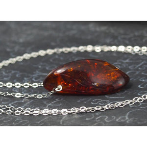 Amber Necklace On Sterling Silver Chain With Sterling Silver Trigger Clasp