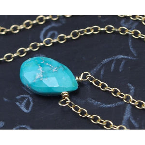 Sleeping Beauty Turquoise Necklace on Gold Filled Chain and Gold Filled Trigger Clasp