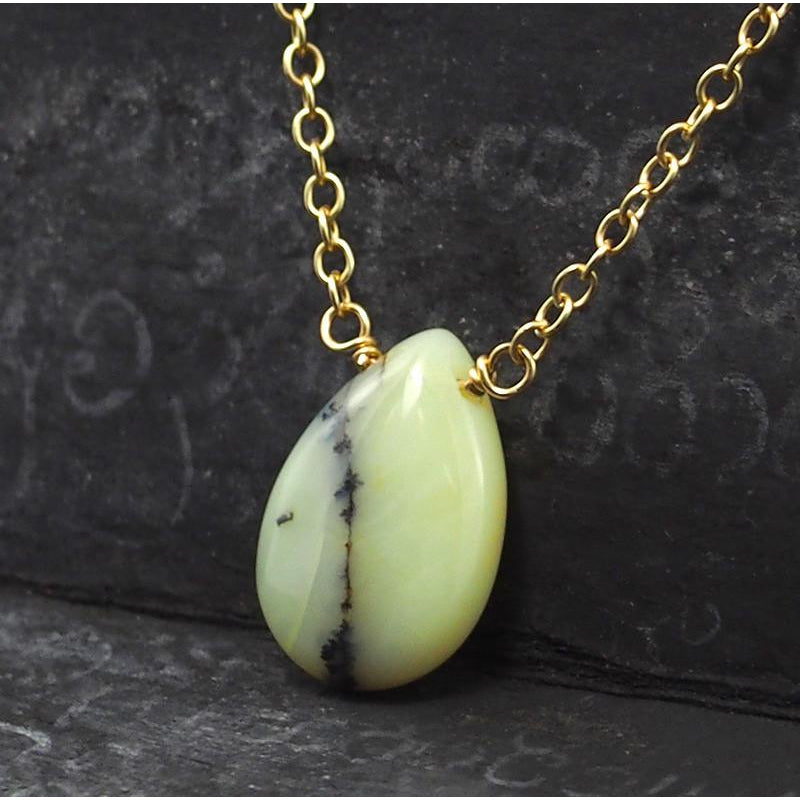Yellow Opal Necklace On Gold Filled Chain With Gold Filled Trigger Clasp