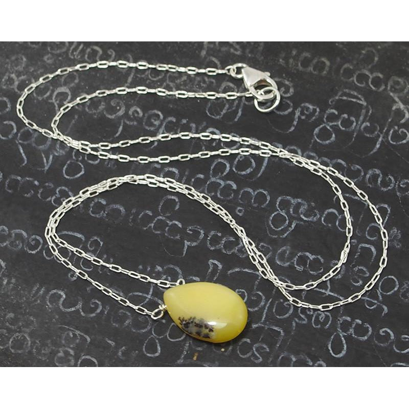 Yellow Opal Necklace On Sterling Silver Chain With Sterling Silver Trigger Clasp
