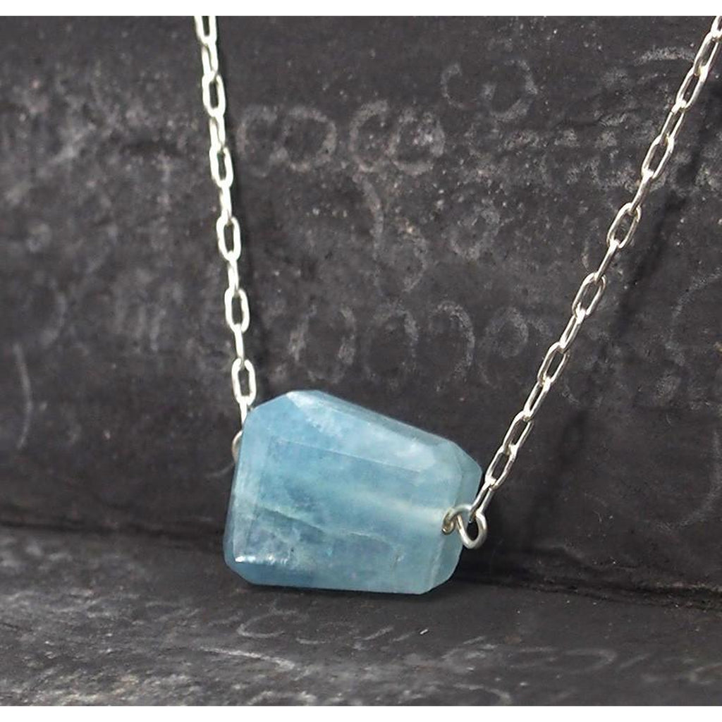 Aquamarine Necklace On Sterling Silver Chain With Sterling Silver Trigger Clasp