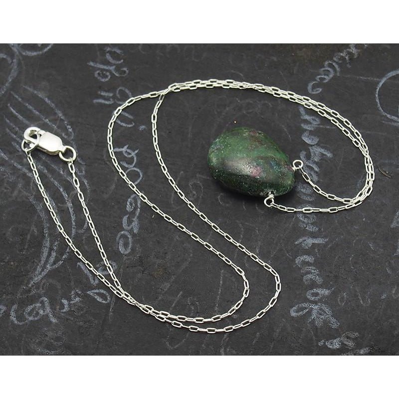 Zoisite Necklace On Sterling Silver Chain With Sterling Silver Lobster Clasp