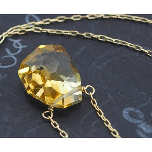 Citrine Necklace On Gold Filled Chain With Gold Filled Trigger Clasp