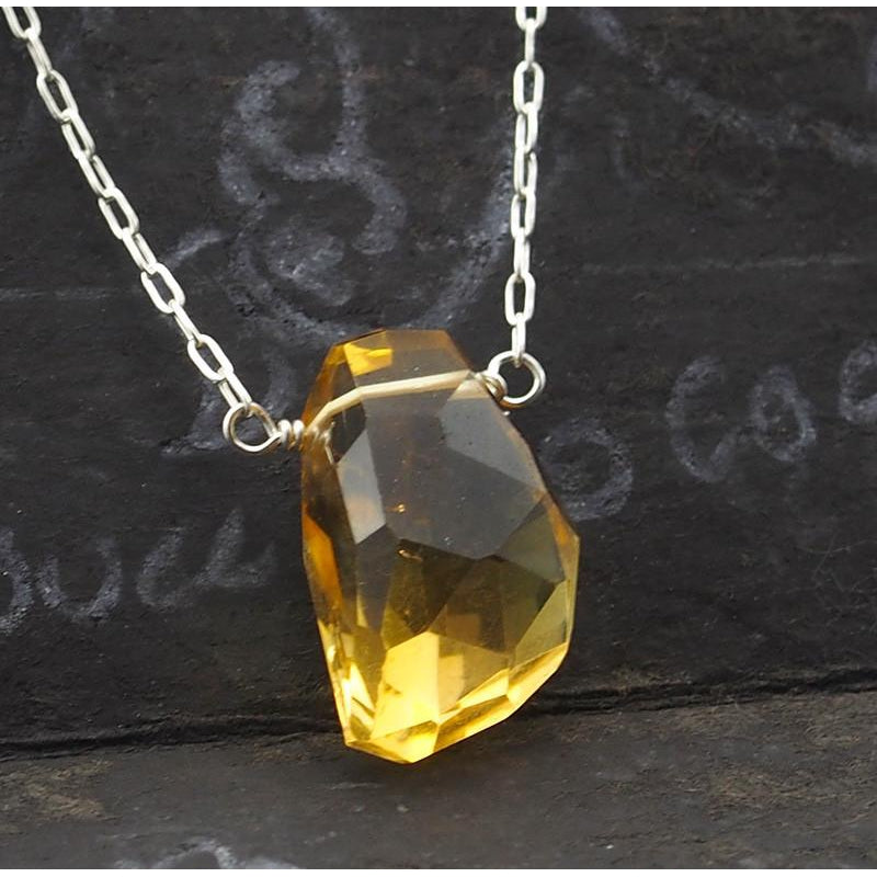 Citrine Necklace On Sterling Silver Chain With Sterling Silver Trigger Clasp