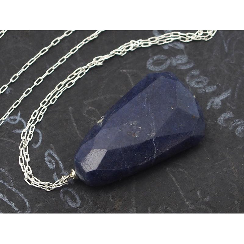 Natural Blue Aventurine Necklace On Sterling Silver Chain With Sterling Silver Trigger Clasp