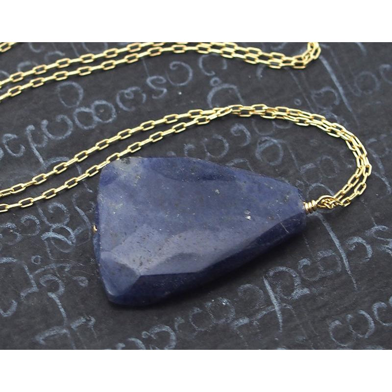 Natural Blue Aventurine Necklace On Gold Filled Chain With Gold Filled Trigger Clasp
