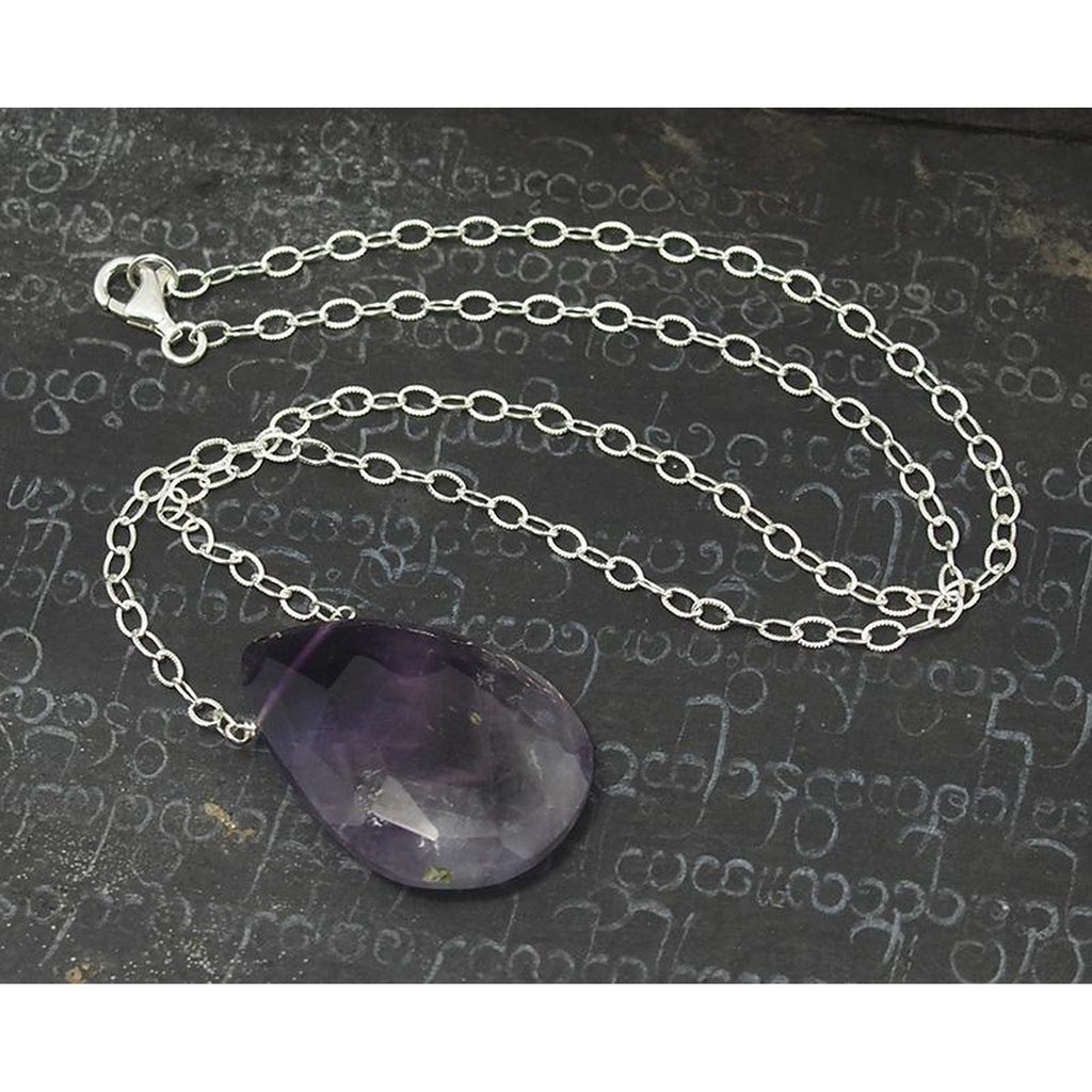 Natural Chevron Amethyst Necklace On Sterling Silver Chain with Sterling Silver Trigger Clasp