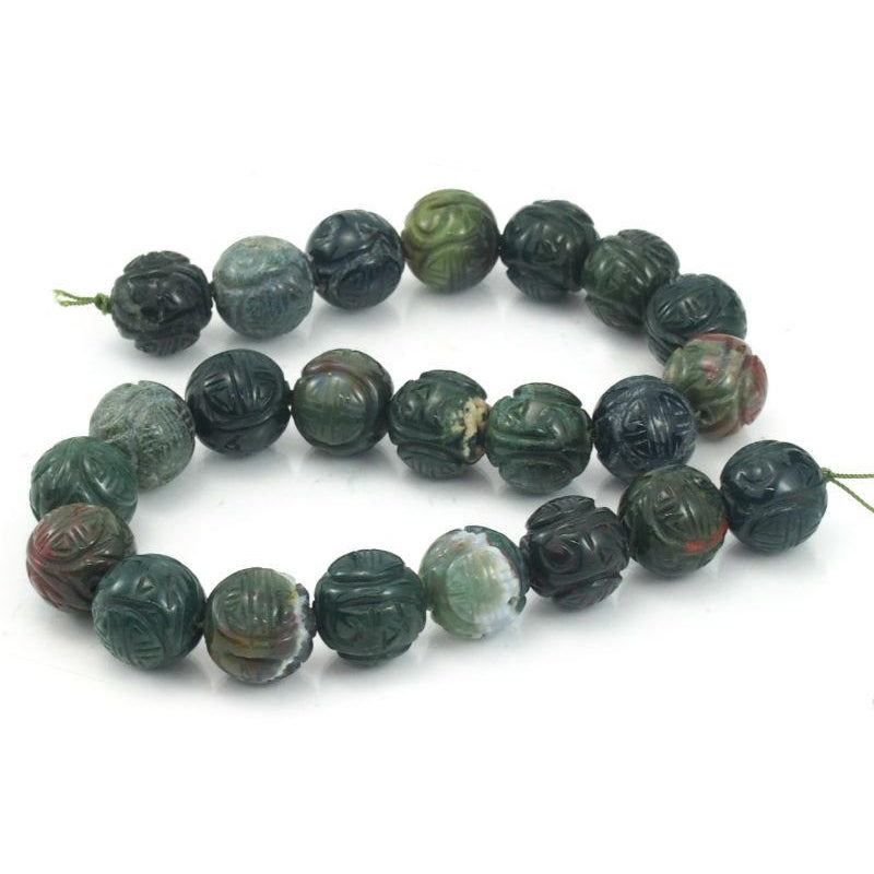 Bloodstone Carved Rounds 18mm