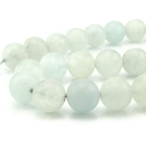 Aquamarine Matte Rounds 14mm