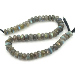 Labradorite Faceted Rondelles 11mm