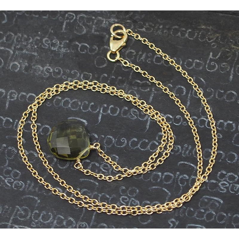 Olive Quartz Necklace On Gold Filled Chain With Gold Filled Trigger Clasp