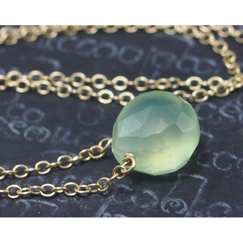 Green Apple Chalcedony Necklace On Gold Filled Chain With Gold Filled Lobster Claw Clasp