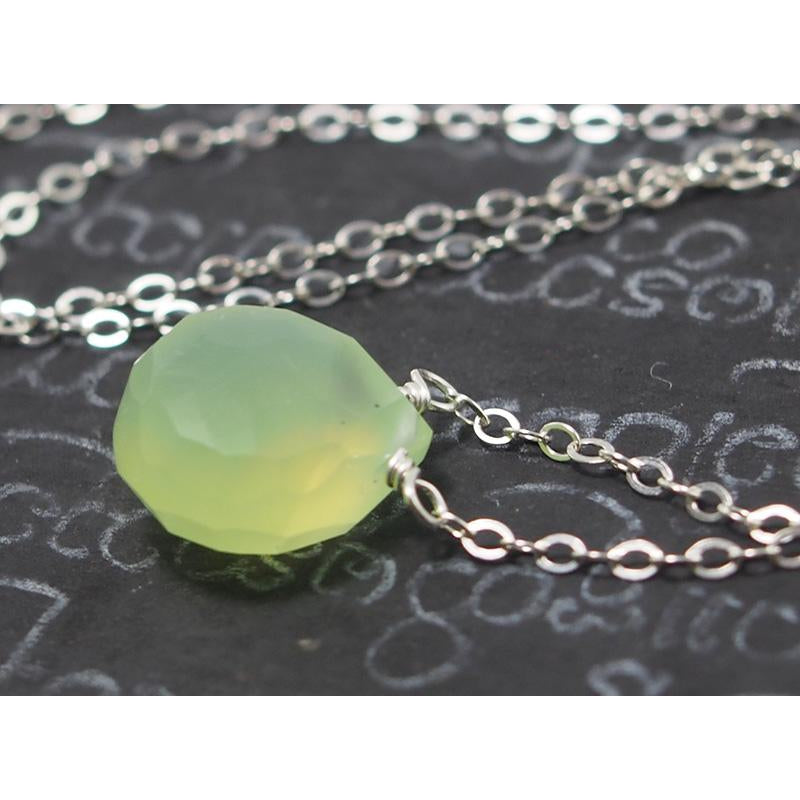 Green Apple Chalcedony Necklace On Sterling Silver Chain With Sterling Silver Lobster Claw Clasp
