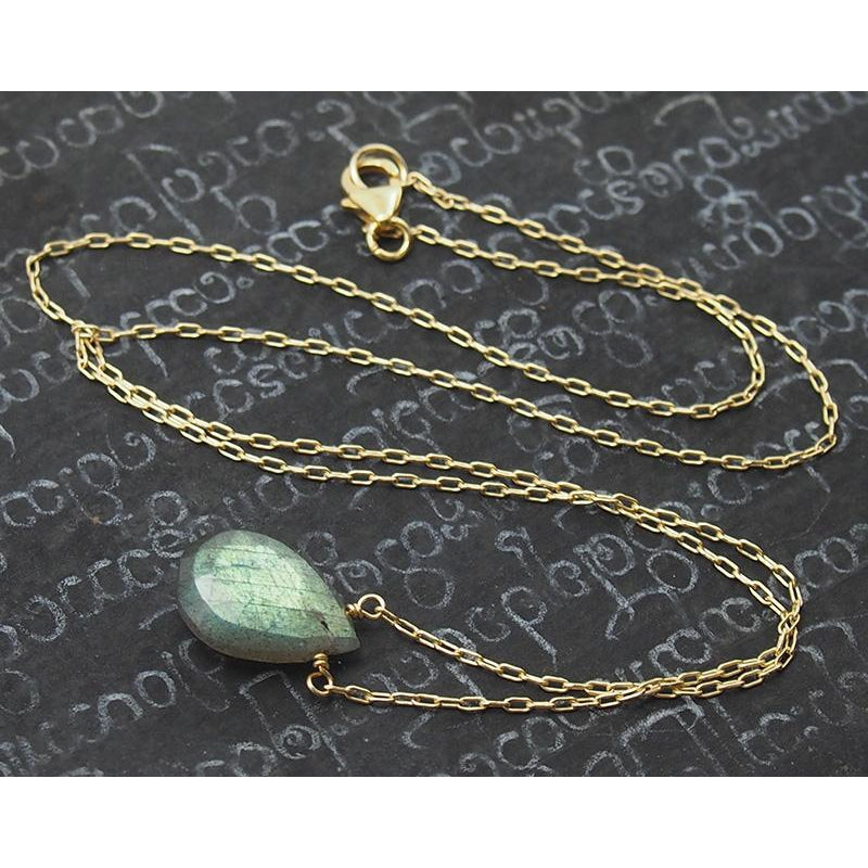 Labradorite Necklace On Gold Filled Chain With Sterling Gold Filled Trigger Clasp