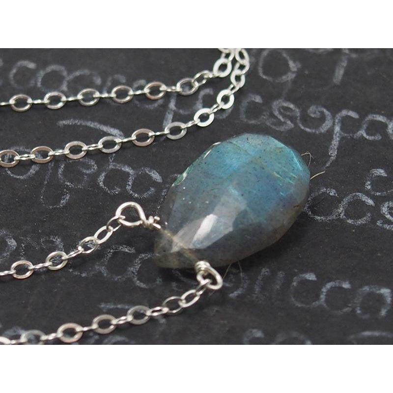 Labradorite Necklace On Sterling Silver Chain With Sterling Silver Trigger Clasp