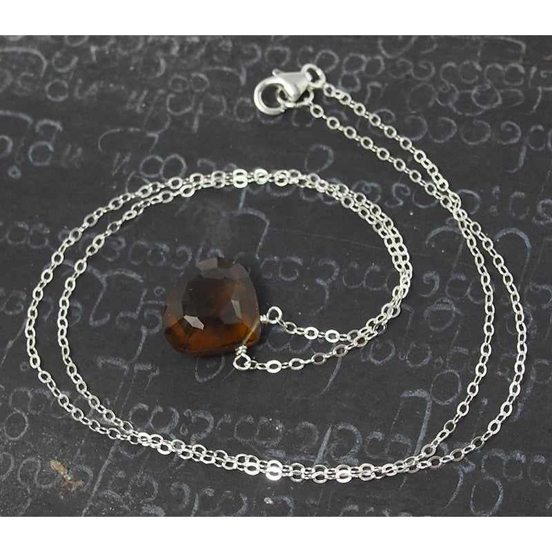 Beer Quartz Necklace On Sterling Silver Chain With Sterling Silver Trigger Clasp