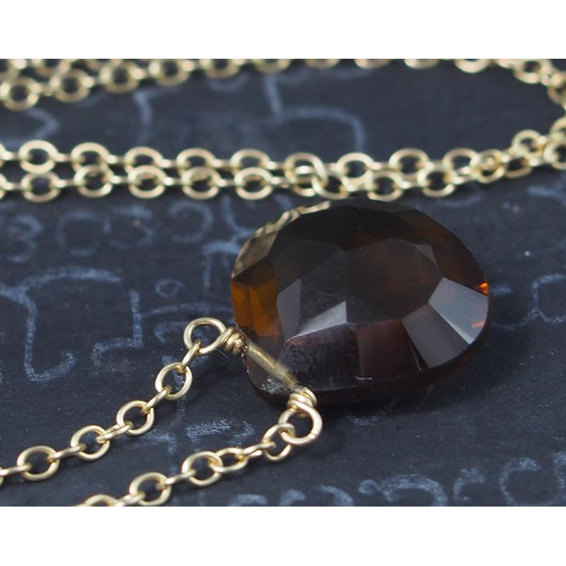 Beer Quartz Necklace On Gold Filled Chain With Gold Filled Trigger Clasp