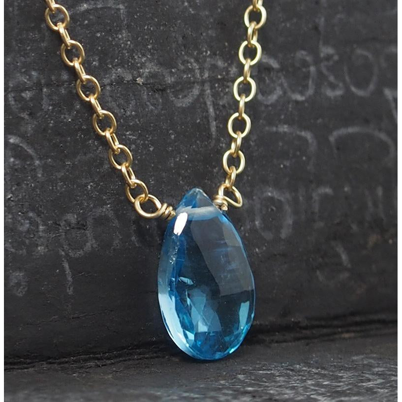 Blue Topaz Necklace On Gold Filled Chain With Gold Filled Trigger Clasp 2