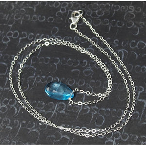 Blue Topaz Pendant Necklace On Sterling Silver Chain With Sterling Silver Trigger Clasp 2