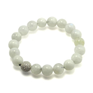 Moonstone and Diamond Pavé Beads Elastic Bracelet