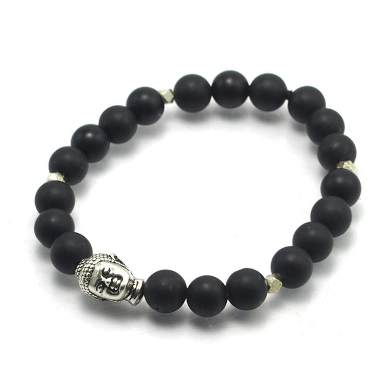Matte Onyx and Sterling Silver Beads Elastic Bracelet with Silver Plated Buddha Head