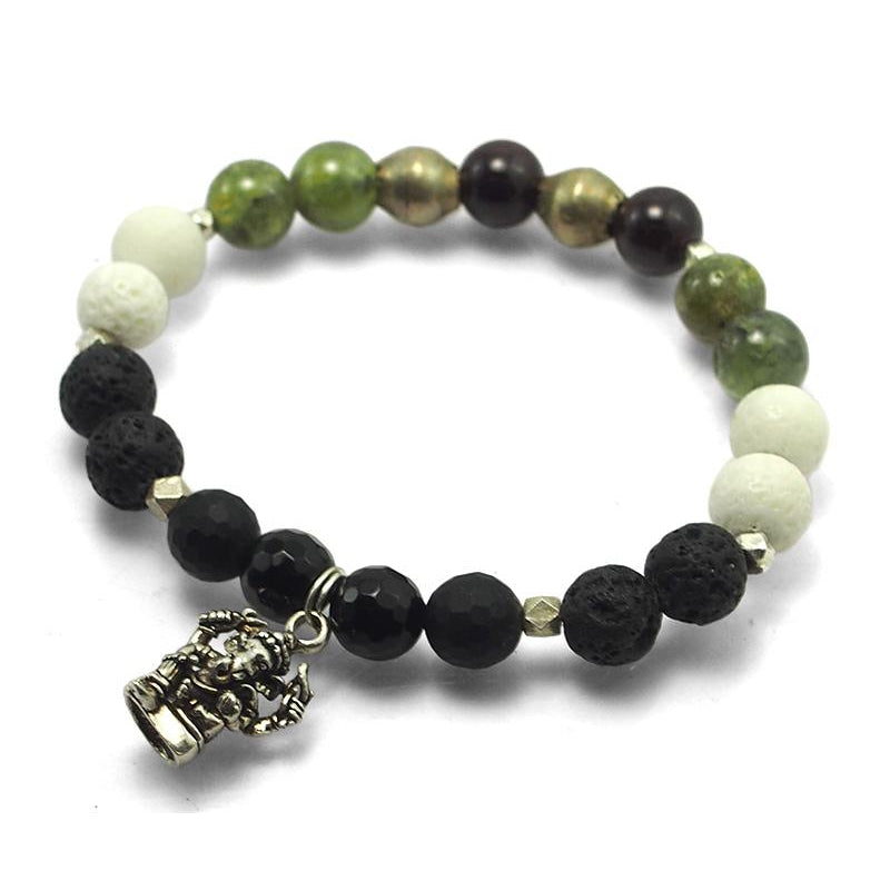 Lavastone, Onyx, White Coral, Red and Green Garnet Beads Elastic Bracelet with Silver Accents and Sterling Silver Ganesh Amulet