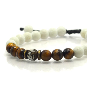 Carved Shell, Tiger's Eye and White Coral Bracelet with Brass Accents and Macrame Clasp