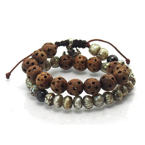 Hand Carved Pearl Wooden Double Wrap Bracelet with Garnet, Pyrite Skull and Sterling Silver Ganesh Amulet