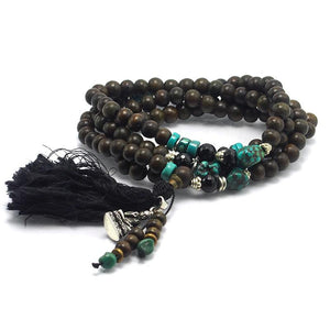 Green Sandalwood Mala with Turquoise, Onyx, Spinel and Obsidian Accents and Sterling Silver Buddha Amulet