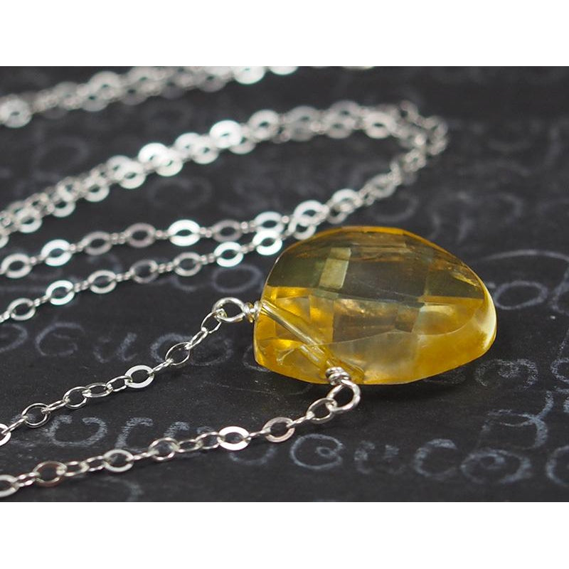Citrine Necklace On Sterling Silver Chain With Sterling Silver Trigger Clasp 2