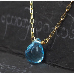 Blue Topaz Necklace On Gold Filled Chain With Gold Filled Trigger Clasp 3