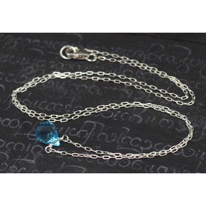 Blue Topaz Necklace On Sterling Silver Chain With Sterling Silver Trigger Clasp 3