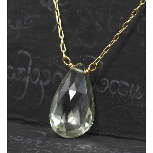 Green Amethyst Necklace On Gold Filled Chain With Gold Filled Trigger Clasp