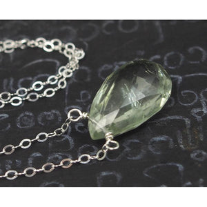 Green Amethyst Necklace On Sterling Silver Chain With Sterling Silver Trigger Clasp