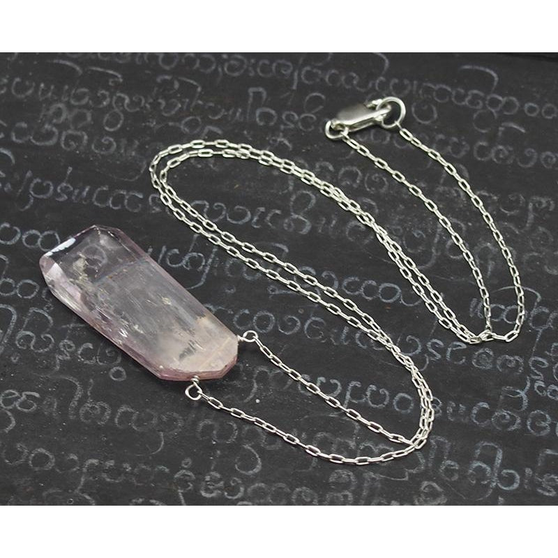 Natural Kunzite Necklace On Sterling Silver Chain With Sterling Silver Lobster Clasp