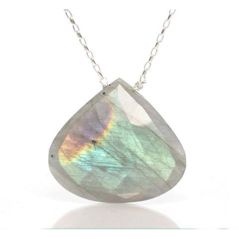 Labradorite Necklace with Sterling Silver Trigger Clasp