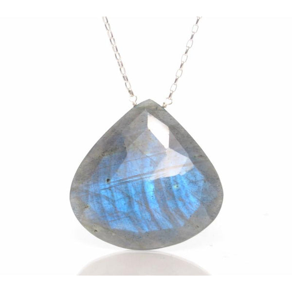Labradorite Pendant Necklace with Sterling Silver Spring Clasp