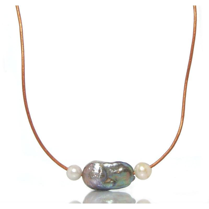 Fresh Water Pearl Beaded Adjustable Leather Necklace