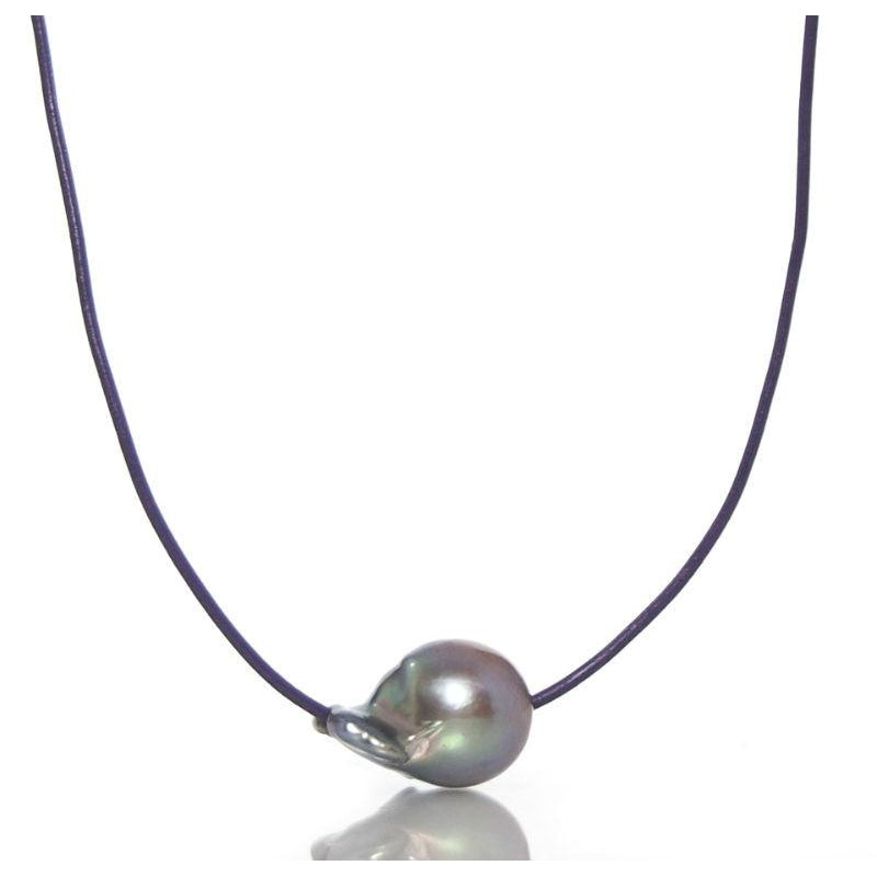 Fresh Water Pearl Bead Adjustable Leather Necklace