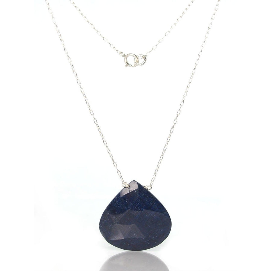 Sapphire Necklace with Sterling Silver Spring Clasp