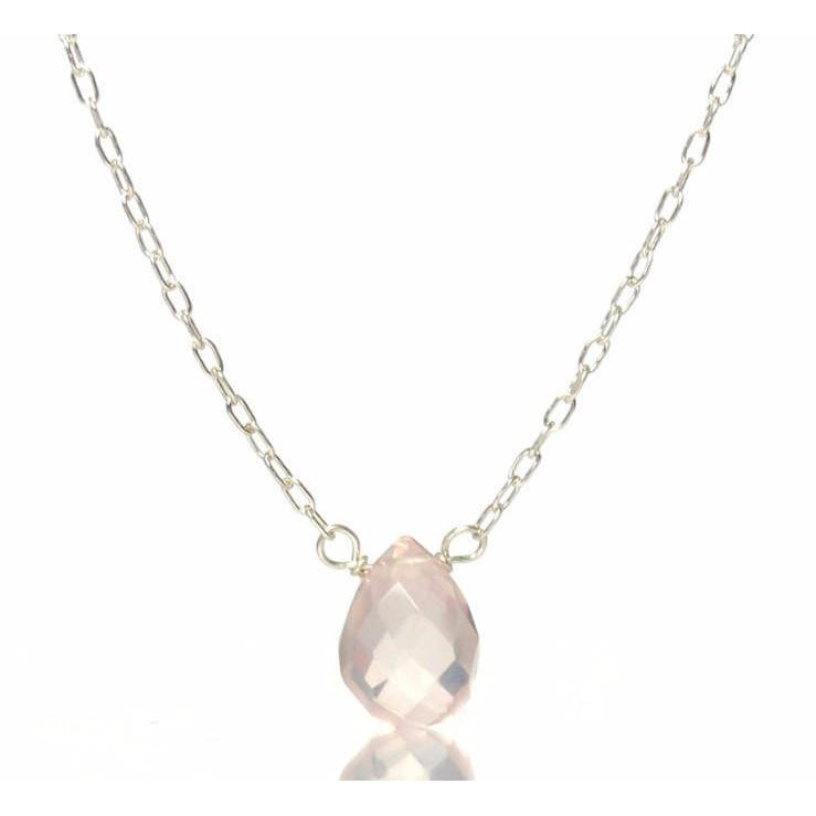Rose Quartz Necklace with Sterling Silver Spring Clasp