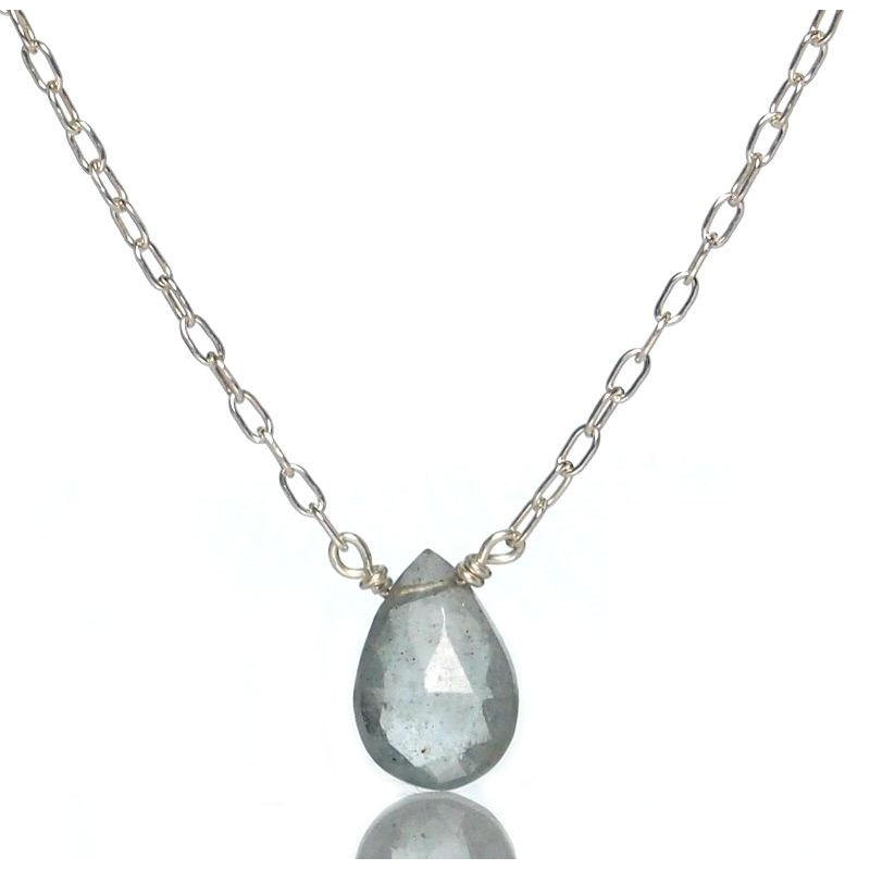Aquamarine Necklace with Sterling Silver Spring Clasp
