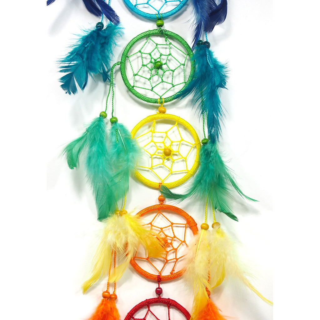 Rainbow Feather Dreamcatcher Wall Hanging