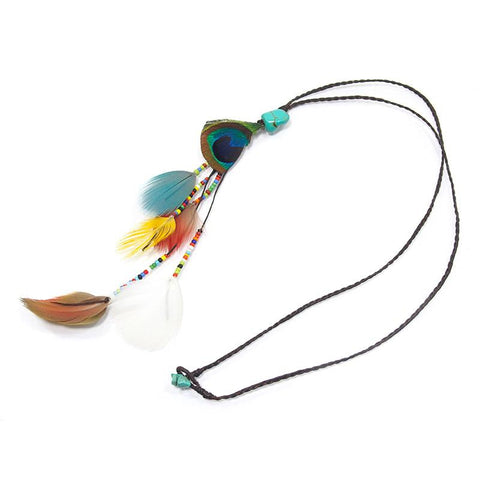 Feather/Beaded Necklace With Waxed Cord