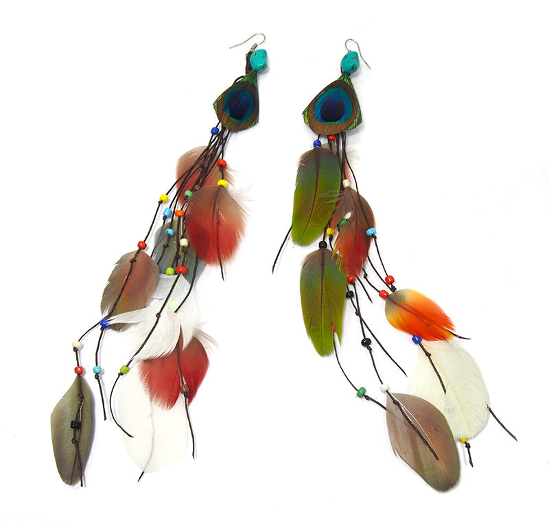 Peacock Multi Feather Earrings