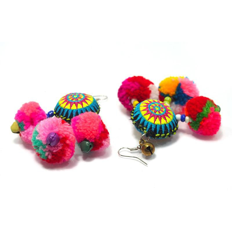 Hilltribe Crocheted Earrings with Pom Poms