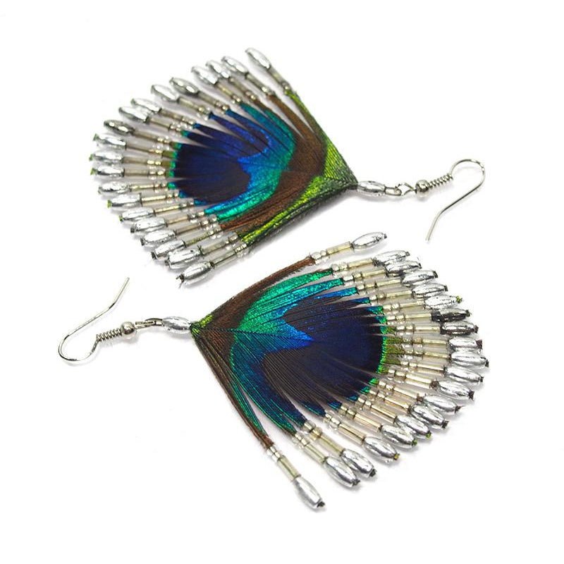 Peacock Feather Beaded Earrings 3