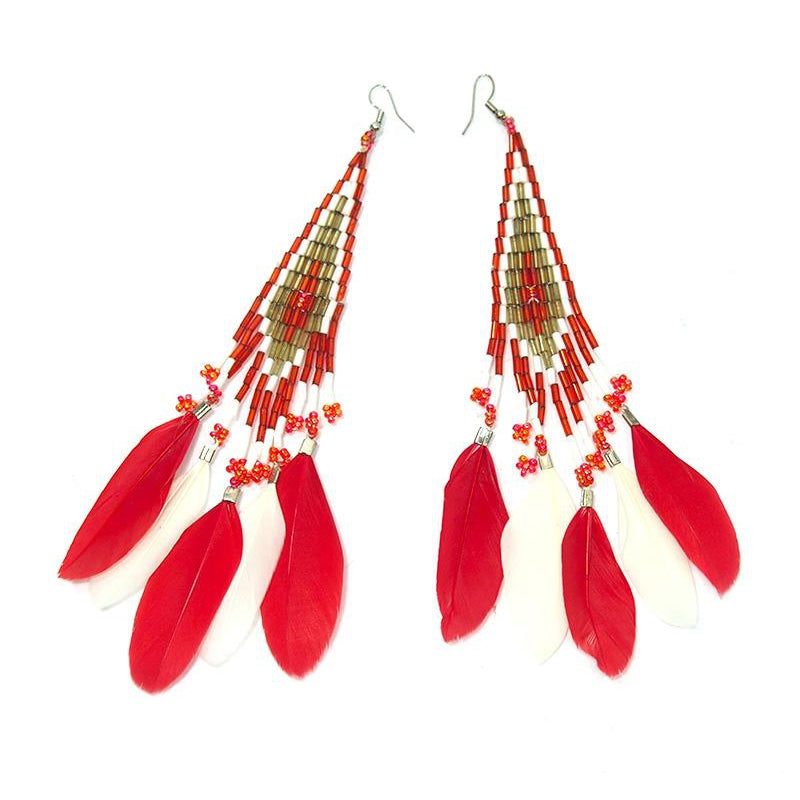 Beaded Feather Earrings 2