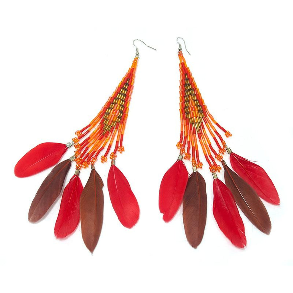 Beaded Feather Earrings 1